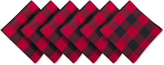 DII 100% Cotton, Oversized Basic Everyday 20x 20 Napkin, Set of 6, Red & Black Buffalo Check