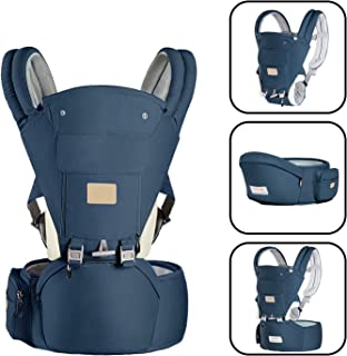 Baby Carrierwith Cushion Hip Seat and Windproof Cap Perfect for Newborn, Infant, Hiking-Blue