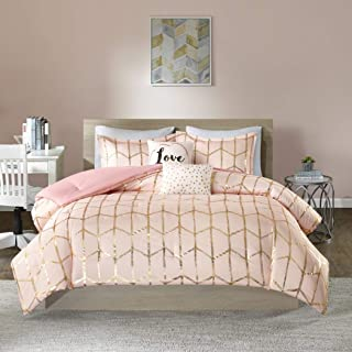 N2 5 Piece Blush Pink Metallic Gold Geometric Shape Comforter Full Queen Set, Modern Chic Honeycomb Themed Bedding, Contemporary Trellis Line Scale Pattern, Polyester
