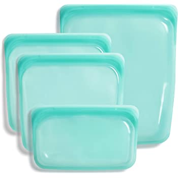 Stasher 100% Silicone Food Grade Reusable Storage Bag, Aqua (4-Piece Bundle Set) | Plastic Free Lunch Bag | Cook, Store, Sous Vide, or Freeze | Leakproof, Dishwasher-Safe, Eco-friendly, Non-Toxic