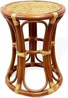 SunBear Furniture Natural Rattan Wicker Stool Breeze Plant Stand Handmade Design ECO, Cognac