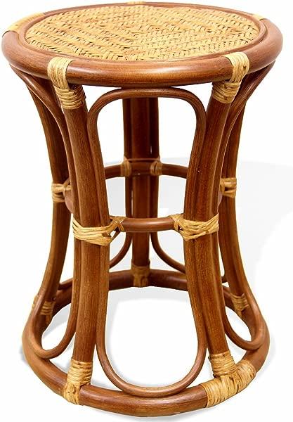 SunBear Furniture Natural Rattan Wicker Stool Breeze Plant Stand Handmade Design ECO Cognac