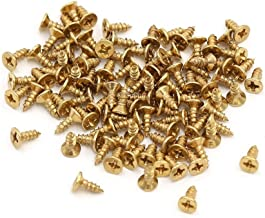 Super Small Household Screw, Linwood Flat Head Small Screws [DIY Screws] General Purpose for KitchenOffice Decoration Boxes Pictures Decorative Accessories (2×5mm, Gold)
