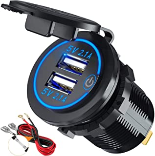 【Upgraded Version】Car Charger with Switch, CHGeek 12V/24V 22W Waterproof 2.1A & 2.1A(4.2A)Dual USB Fast Charger Socket Power Outlet for Marine, RV, Boat, Motorcycle, Truck, Golf Cart and More