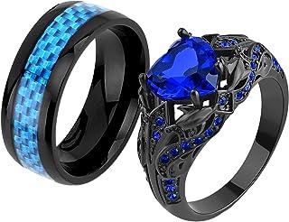 Ringcrown Couple Rings Black Rings Heart Blue Cz Womens Wedding Ring Sets Titanium Steel Man Wedding Bands(Please Buy 2 Ri...