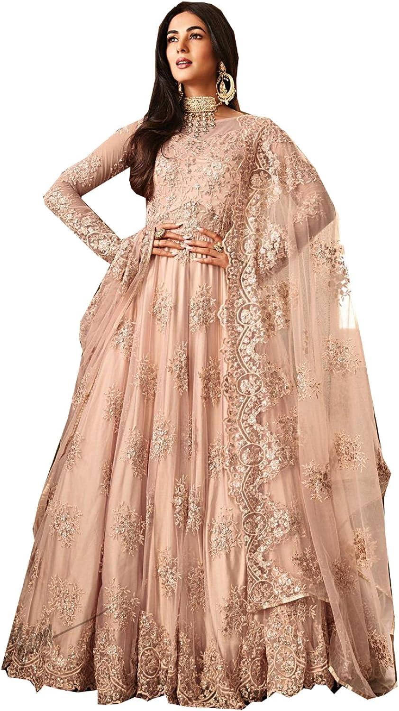 STELLACOUTURE Ethnic wear Peach colord Anarkali Indian Pakistani Salwar Kameez for Women 6701