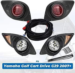 kemimoto Fits Yamaha G29 Drive Golf Cart LED Headlight & Tail Light Kit Set 2007-Up