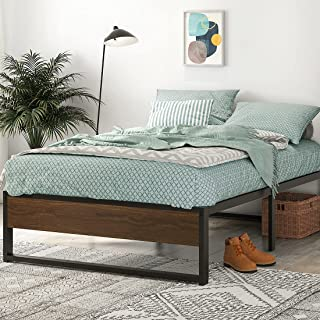 SHA CERLIN Queen Size Platform Bed Frame, 14 Inch Metal Bed Frame with Storage, Mattress Foundation with Rustic Wood, No B...