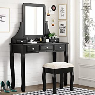 Amolife Vanity Makeup Set with 5 Drawers, Dressing Table with Removable Mirror and Cushioned Stool, Makeup Desk, Solid Woo...