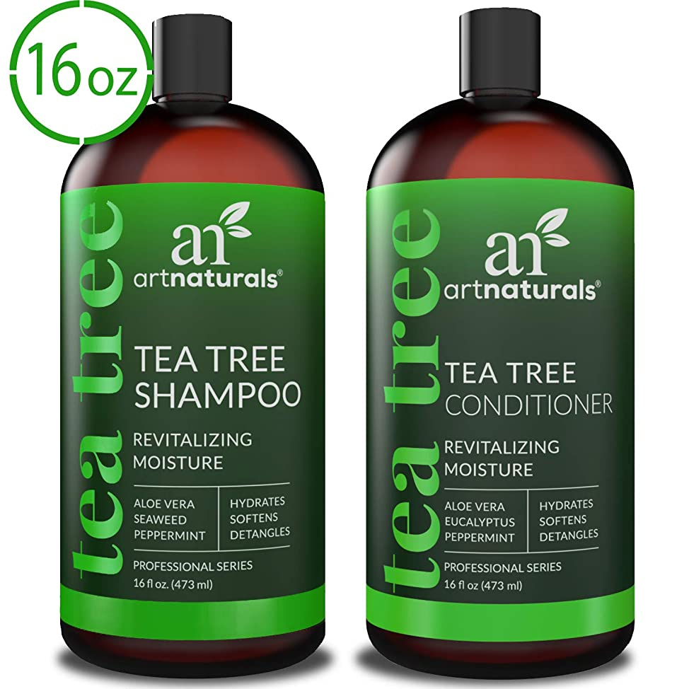 ArtNaturals Tea Tree Shampoo and Conditioner Set - (2 x 16 Fl Oz / 473ml) – Sulfate Free – Therapeutic Grade Tea Tree Essential Oil - Deep Cleansing for Dandruff, Lice, Dry Scalp and Itchy Hair wirqsmdl150