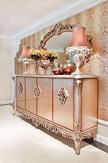 Casa Padrino Conjunto de Muebles barrocos aparador con Espejo Cobre - Magnífico Mueble de Madera Maciza y Elegante Espejo ...