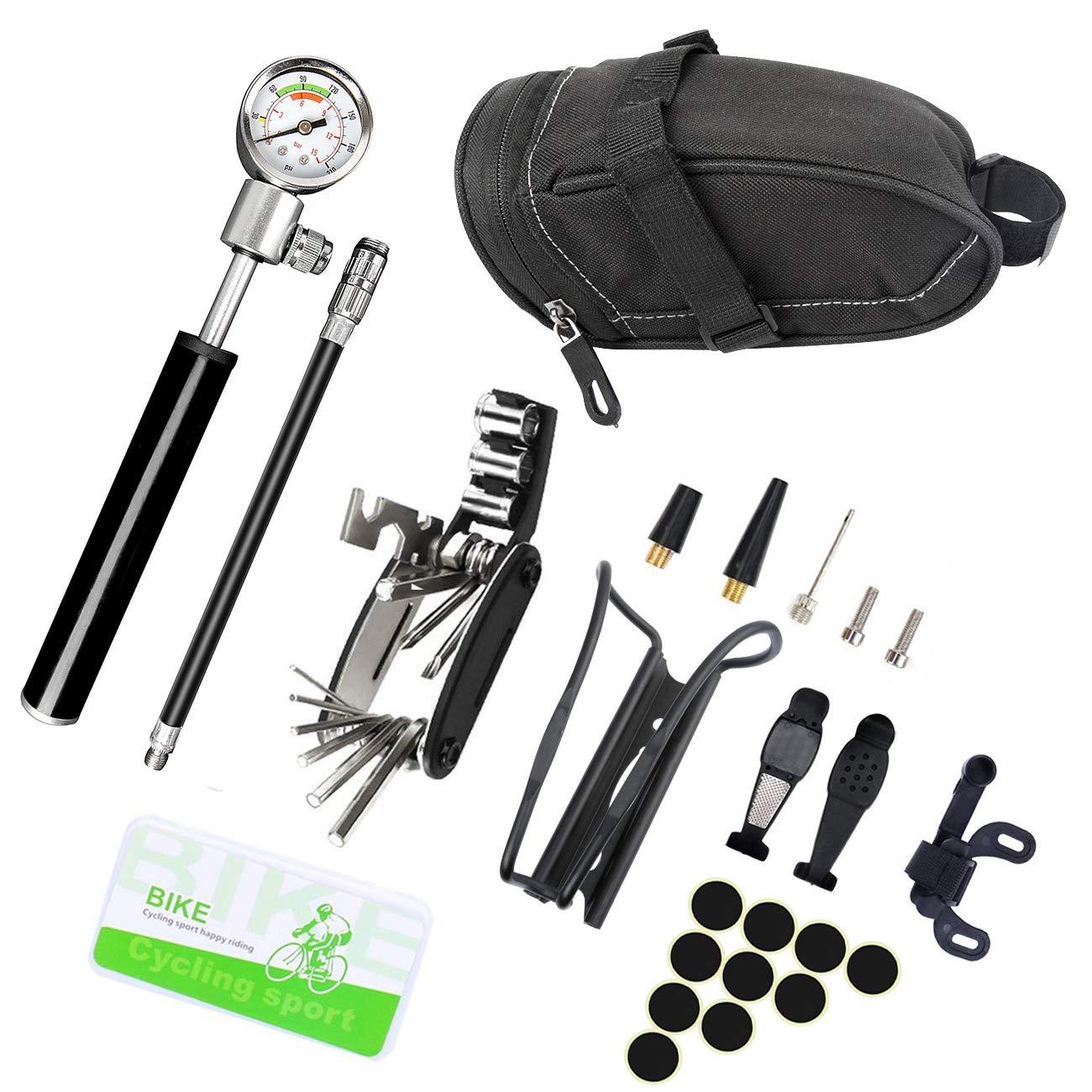 Kits de reparación de pinchazos para bicicletas, mini bomba de bicicleta con manómetro (210 PSI), 16 en 1 multiherramientas de reparación, bolsa de sillín de bicicleta, jaula de botella de agua, parches