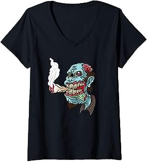 Womens Zombie Smoking Weed THC Happy Halloweed Halloween Stoner V-Neck T-Shirt