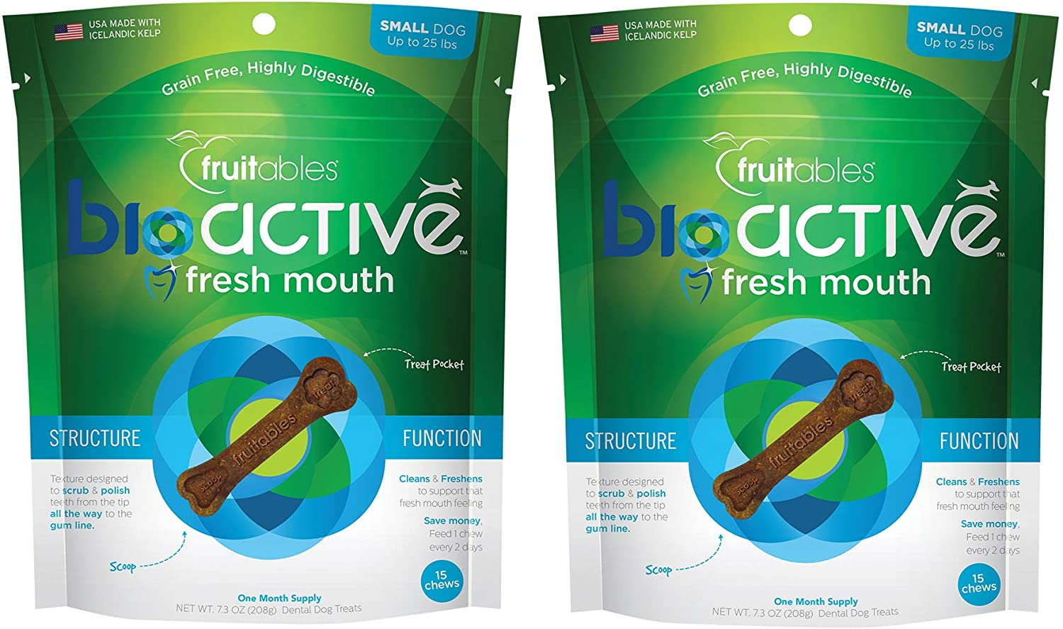 Fruitables 15 Count BioActive Fresh Mouth Dental Chews for Small Dogs, 7.3 Ounce Bag  Pack of 2