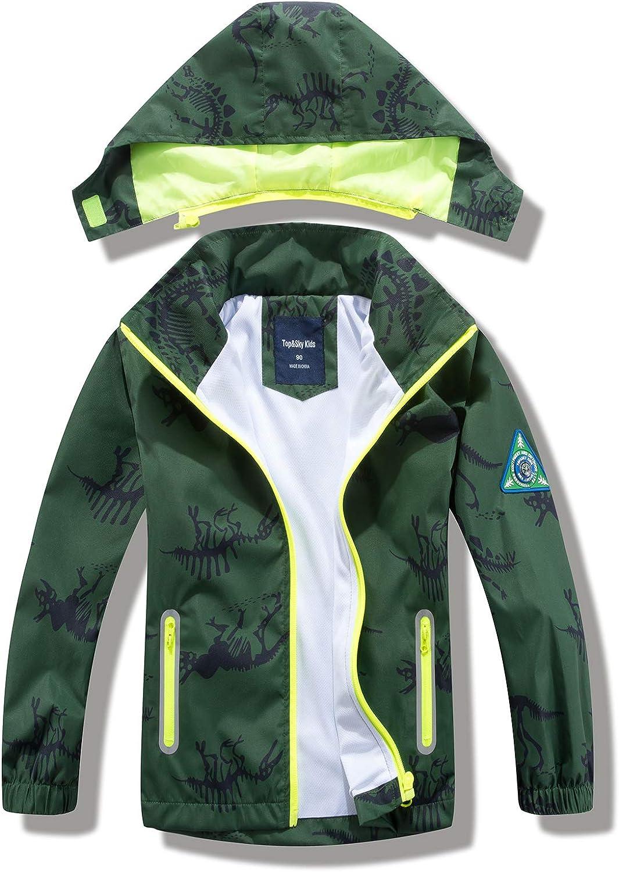 IjnUhb Waterproof Rain Jacket Boys Raincoat for Girls Lightweight Windbreaker Jackets,Kids Dinosaur Outerwear: Clothing