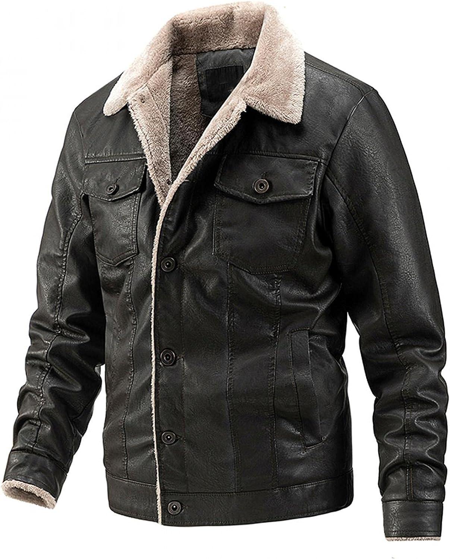 XUNFUN Men's Classic Faux Leather Sherpa Fleece Lined Trucker Jackets Casual Button-Front Aviator Bomber Jacket Outwear