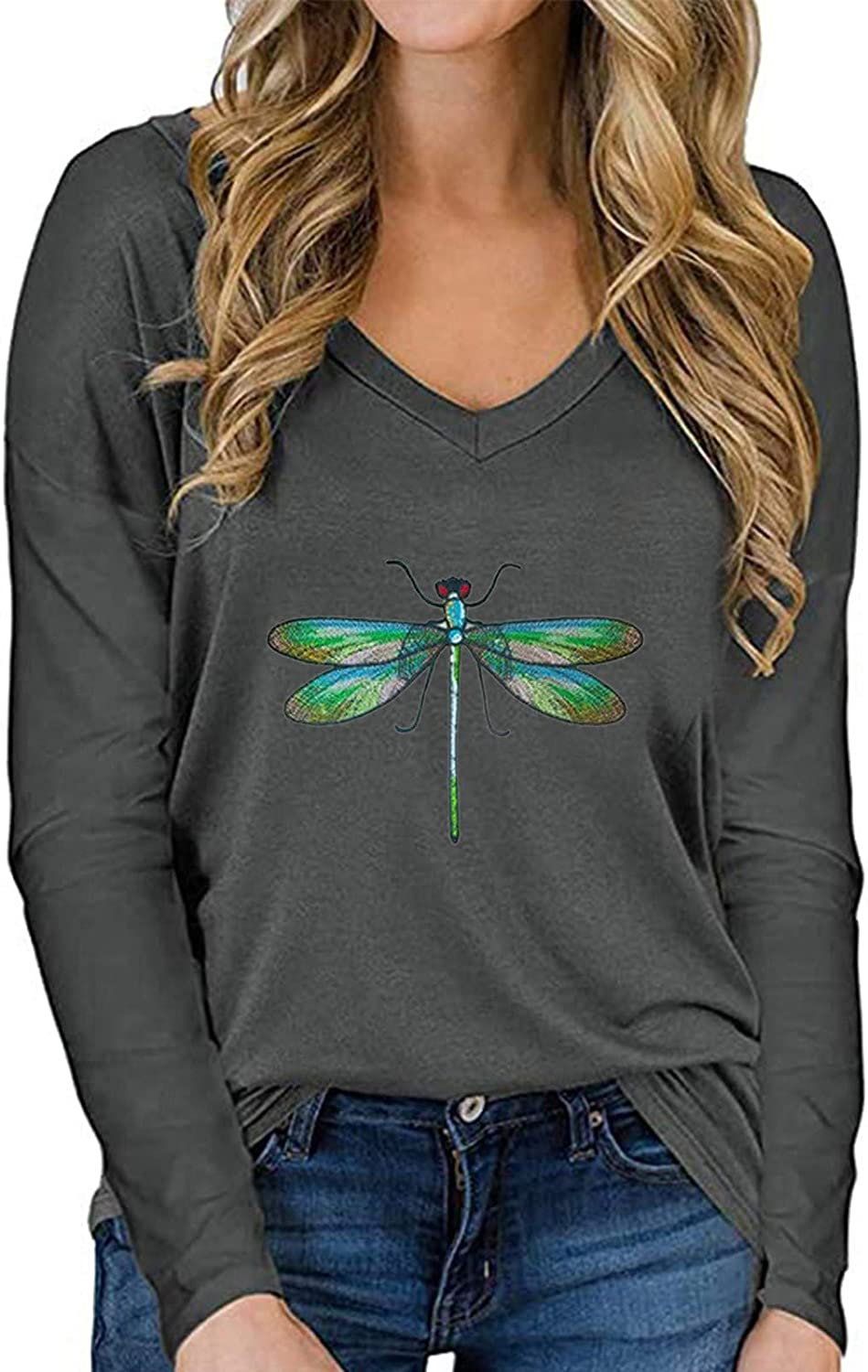 Dragonfly Shirts for Women Long/Short Sleeve Crewneck Tops One Dragonfly Graphic Tees Dragonfly Lover