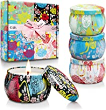CREASHINE Scented Candles Women Gifts Set, 100% Natural Soy Wax 4.4 Oz Unit Portable Travel Tin, Gifts for Women Aromatherapy, Lavender,Jasmine,French Vanilla,Gardenia - 4 Pack