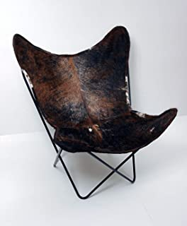 Original BKF Chair. 100% Handcrafted. Cowhide Leather Butterfly Chair from Argentina. Chrome Frame (Brindle)