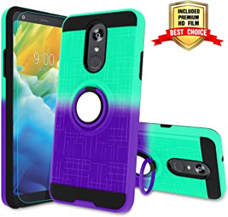 LG Stylo 4 Case, LG Q Stylus 4 Case, Stylo 4 Plus Phone Case with HD Screen Protector,Atump 360 Degree Rotating Ring Holder Kickstand Bracket Cover Phone Case for LG Stylo 4 Mint/Purple