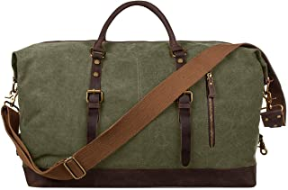 S-ZONE Oversized Canvas Genuine Leather Trim Travel Tote Duffel Shoulder Weekend Bag Weekender Overnight Carryon Hand Bag (Army Green)