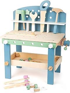 """small Foot 11376 arbetsbänk """"Nordic"""" kompakt av trä, arbetsbänk för barn med verktyg och tillbehör, från 3 år"""