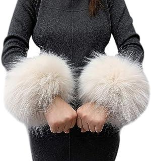 MoreChioce Elegante Polsini di Pelliccia da Donna Polsino di Pelliccia Calda Invernale Warmer Maniche per Donne