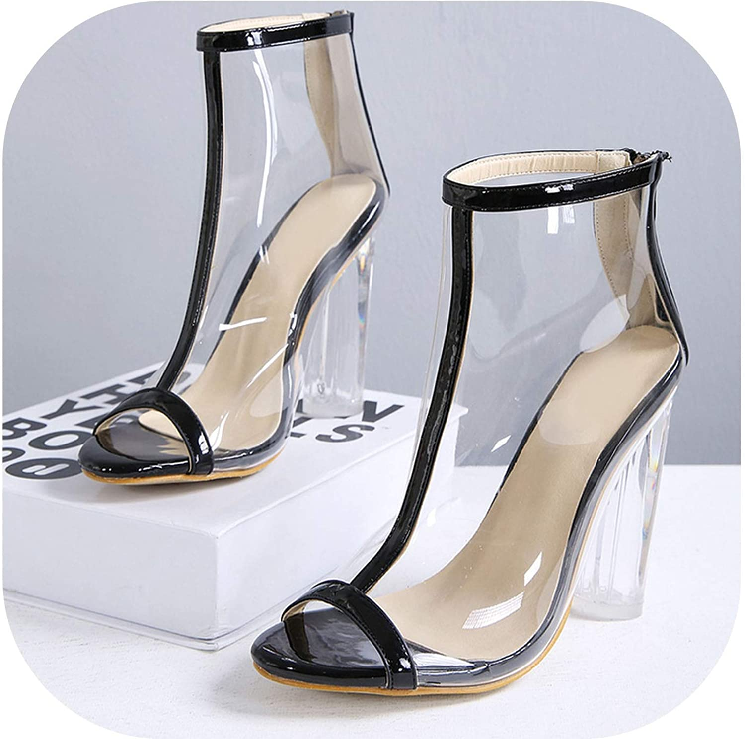 Summer Women 12cm High Heels Sandals Female Fetish Gladiator Transparent shoes Lady Peep Toe Pumps