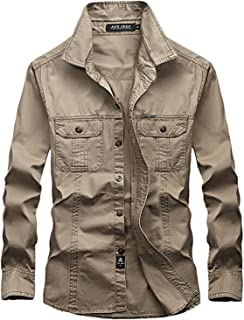 27a62b9d6c692 Rising ON mens casual army shirt full sleeve shirts for men fashion  European style shirt NEW