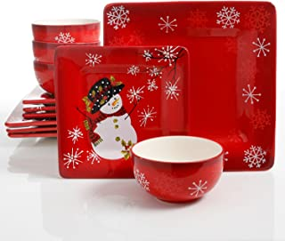 Snappy Snowman 12 Piece Dinnerware Set, Red (Christmas Theme)