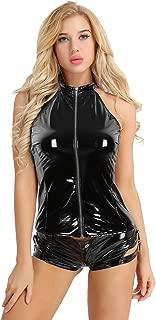 Women Wetlook Faux Leather Sleeveless Halter Zipper Punk Rock Style Vest Backless Tank Tops
