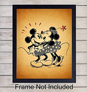 Mickey Mouse and Minnie Mouse in Love Vintage Unframed Wall Art Print - Perfect Gift For Disney and Disneyworld Fans - Great Home Decor For Nursery, Girls or Boys Room- Ready to Frame (8X10) Photo