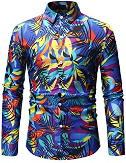 1bf8e17427aa MOIKA Homme Chemise Slim Fit à Manches Longue Mode Imprimé Coloré Revers  Vintage Hawaienne Été Classic