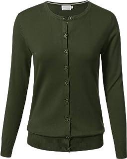 ARC Studio 女士系扣长袖圆领柔软针织开衫毛衣(S-3XL)