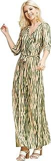 Women's V-Neck 3/4 Sleeve Waist Wrap Front Maxi Dress