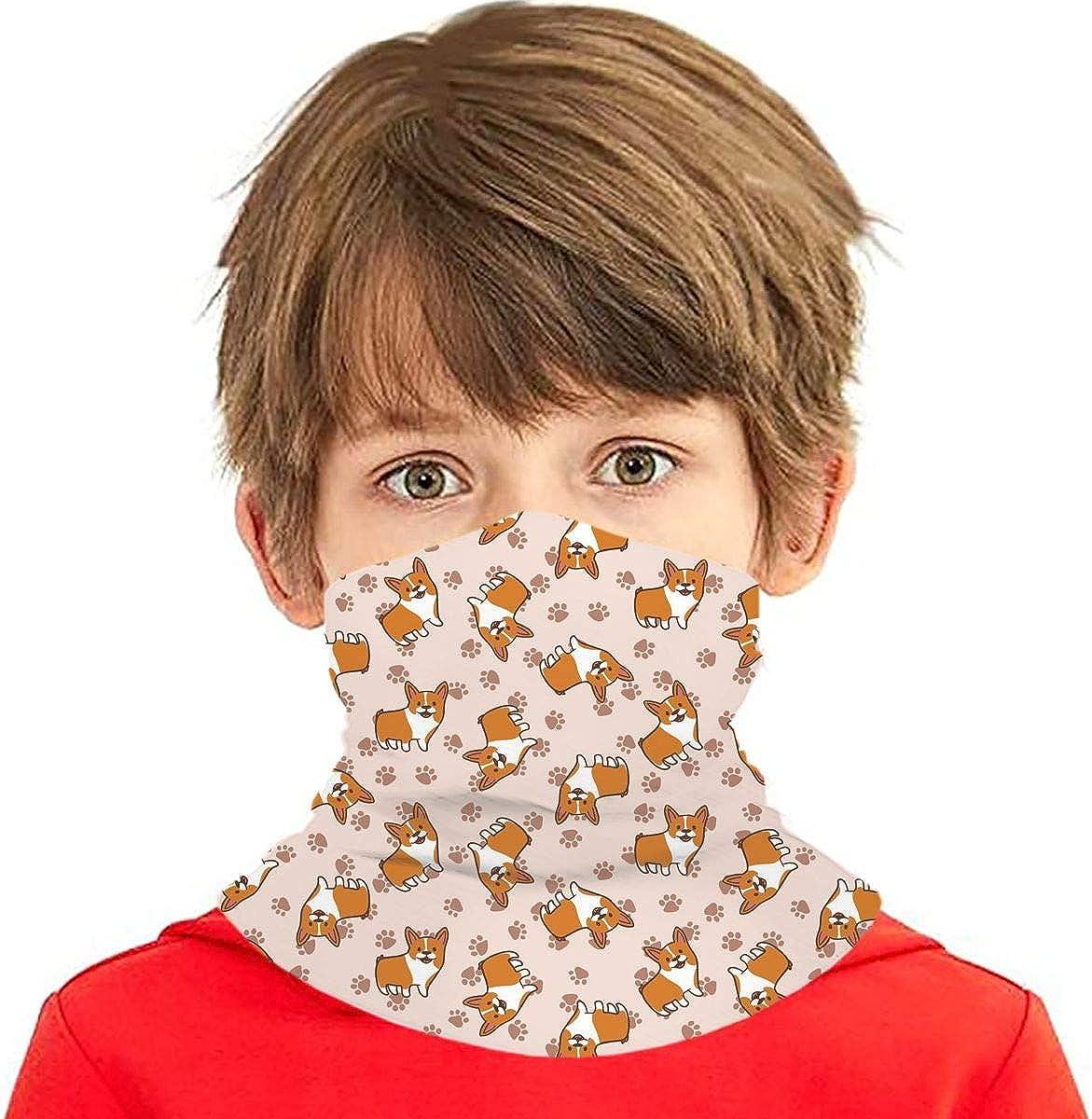 Dujiea Kids Bandanas Face Mask, Corgi Dog Paw Print Dust Sun UV Protection Neck Gaiter Multifunctional Balaclava Face Scarf Summer Tube Headband Lightweight for Boys Girls Outdoors