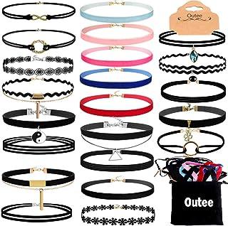Outee Chokers for Women 30 Pcs Choker Set Black Choker Necklaces for Teen Girls Velvet..