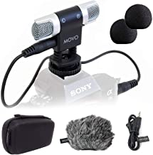 Movo VXR3000 Universal Stereo Microphone with Foam and Furry Windscreens and Travel Case - for iPhone and Android Smartpho...