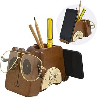 Wood Multipurpose Eyeglass Phone Pen & Pencil Holder Stand Stationery Desk Organizer Accessories Decor, for Home Office De...