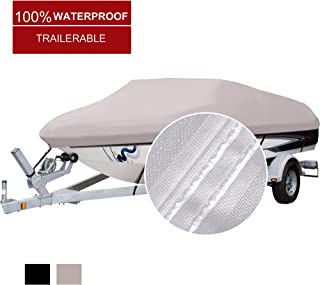 NORTHCAPTAIN 100% Waterproof 600D Polyester Trailerable Boat Cover,Fits V-Hull Tri-Hull Runabout Boat Cover …
