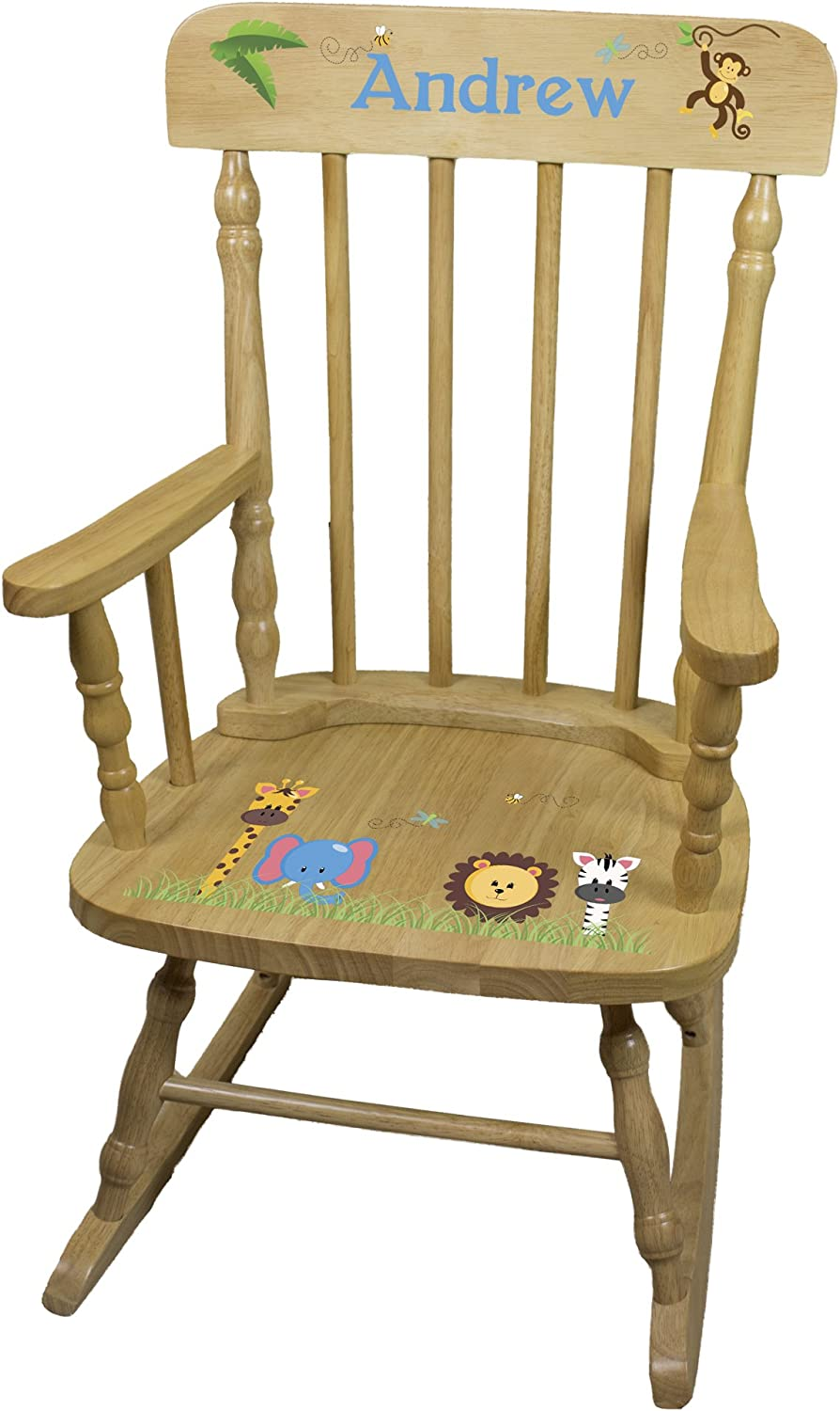 100% quality warranty! Personalized Child's Wood National uniform free shipping Jungle Animals Chair Rocking