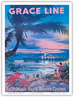 Caribbean, South America Cruises - Grace Line - Vintage Ocean Liner Travel Poster by C.G. Evers c.1958 - Master Art Print - 9in x 12in