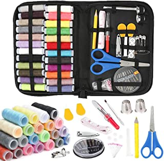 Sewing kit,Premium Sewing Supplies,Mini DIY Sewing Supplies Organizer,Traveler and Emergency Clothing Fixes Filled with Scissors,Thimble,Thread,Sewing Needles,Tape Measure etc (L)