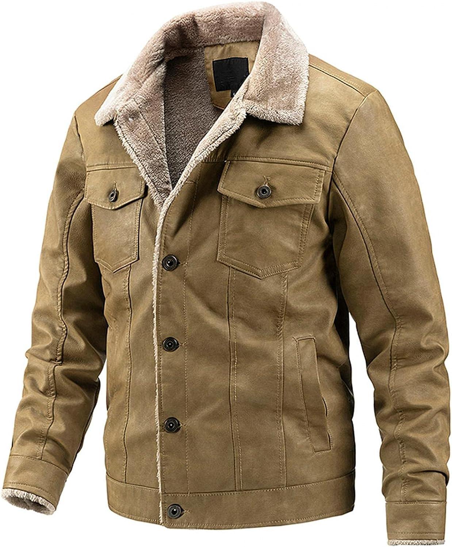 JSPOYOU Mens Thicken Fleece Coats Winter Warm Fur Collar Button Down Trucker Jacket Heavyweight Sherpa Fleece Lined Outwear