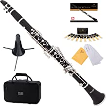 Mendini by Cecilio Bb Clarinet w/1 Year Warranty, Stand,10 Reeds, Pocketbook, Mouthpiece, Case, MCT-E Black Ebonite