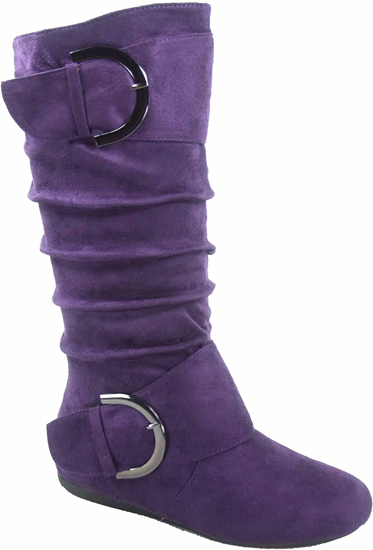 TOP Moda Bank-81 Women's Fashion Round Toe Flat Heel Zipper Buckle Slouchy Mid-Calf Boot Shoes