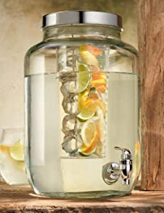 2 Gallon Ice Cold Clear Glass Beverage Drink Dispenser Mason Jar With Chiller Infuser, Lid & Spigot - Great For Outdoor, Party, & Daily Use