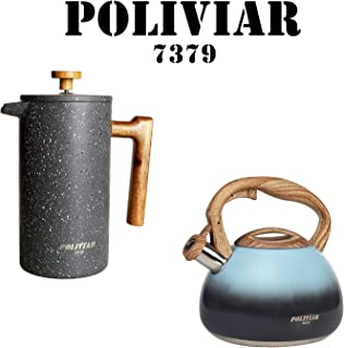 POLIVIAR Tea Kettle/Coffee Press, 2.7 Quart Seabed Tea Kettle, 34 OZ Stone French Coffee Press with teak wood handle,Double Wall Insulation & Dual-Filter Screen, Food Grade Steel for Coffee & Tea