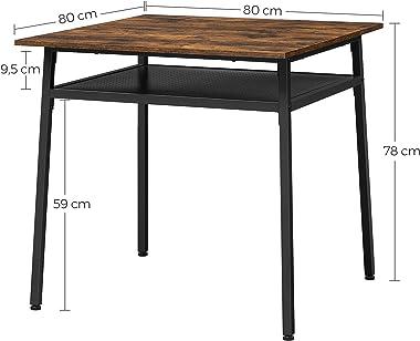 VASAGLE Table à Manger 2 Personnes, Table de Cuisine carrée, 80 x 80 x 78 cm, avec Rangement, pour Salon, Bureau, Style Indus