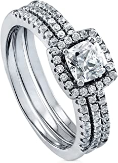 BERRICLE Rhodium Plated Sterling Silver Cushion Cut Cubic Zirconia CZ Halo Engagement Wedding Ring Set 0.99 CTW